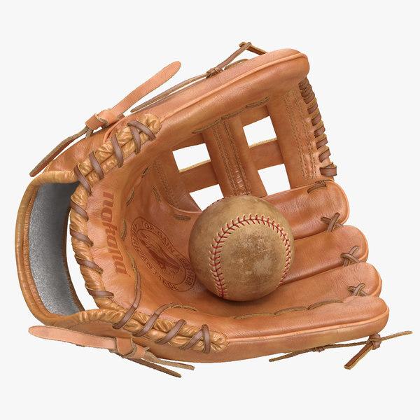 3d baseball glove ball model