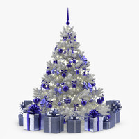 White Christmas Tree with Blue Ornament