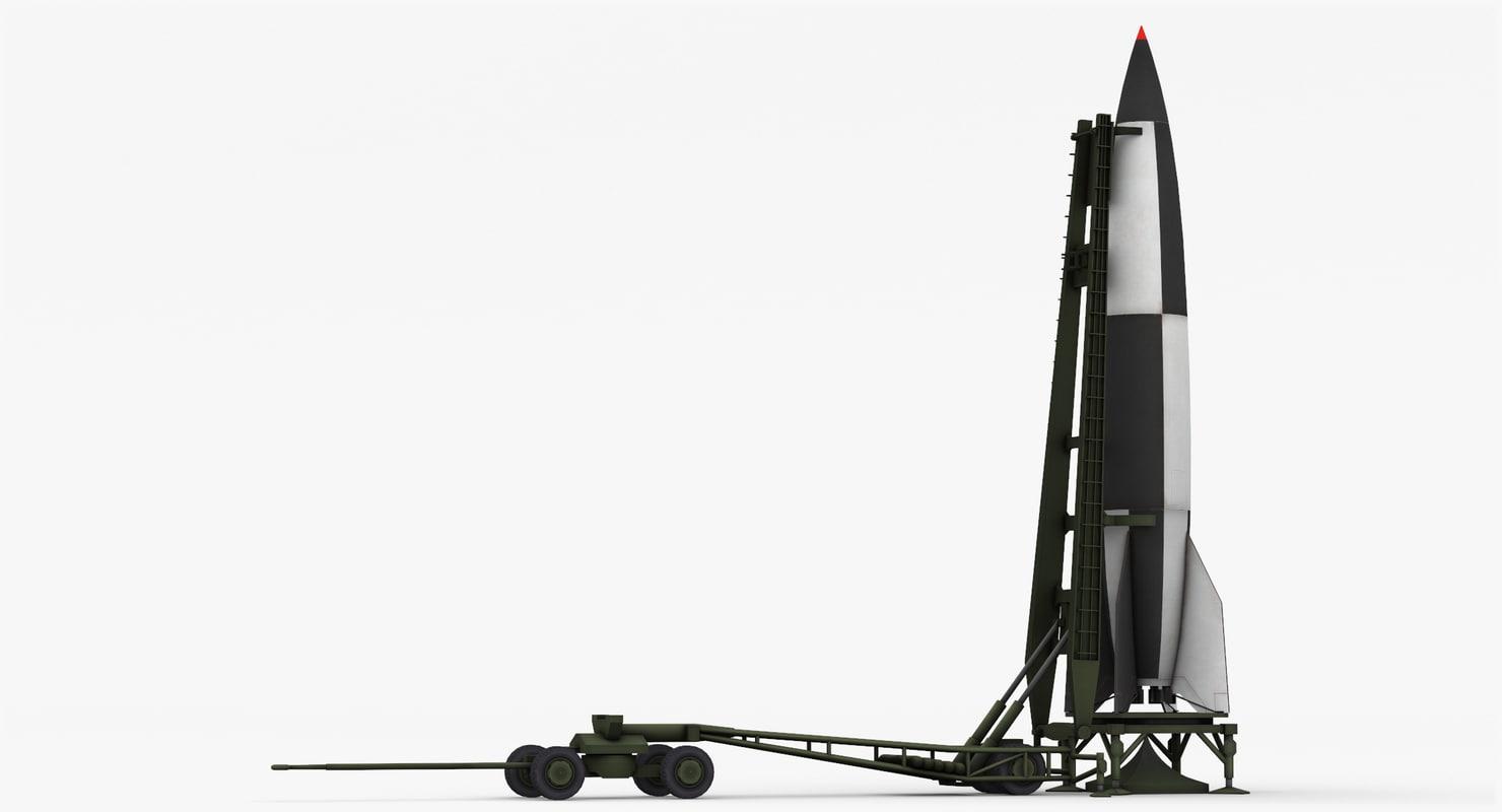 v-2 ballistic missile launcher 3d model