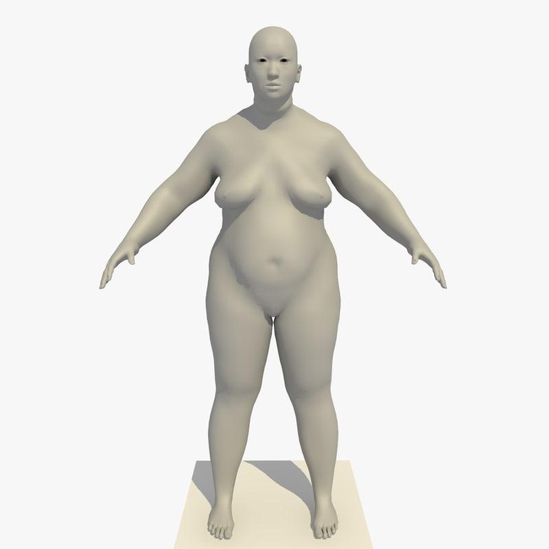 base mesh obese asian 3d model