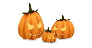 3d model of halloween pumkin