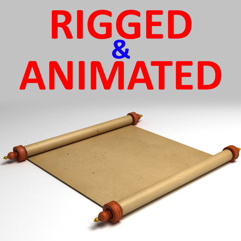 3d rigged scroll paper