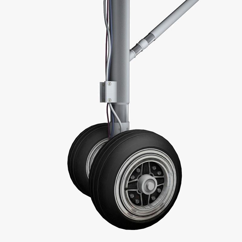 landing gear airplane wheels 3d model