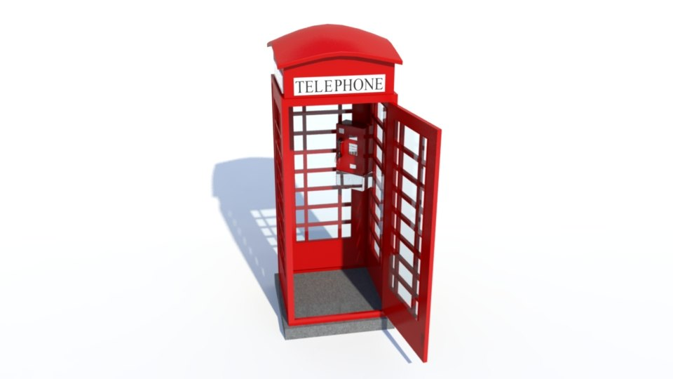 realistic british phone booth 3d model