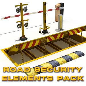 3d model road security elements pack