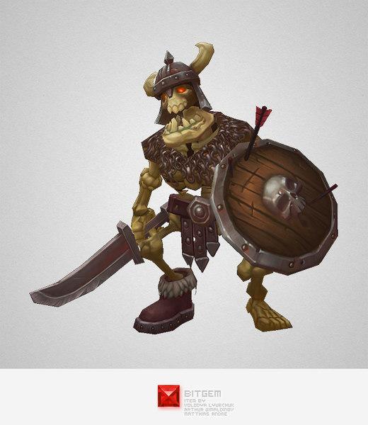 monster skeleton swordsman 3d model