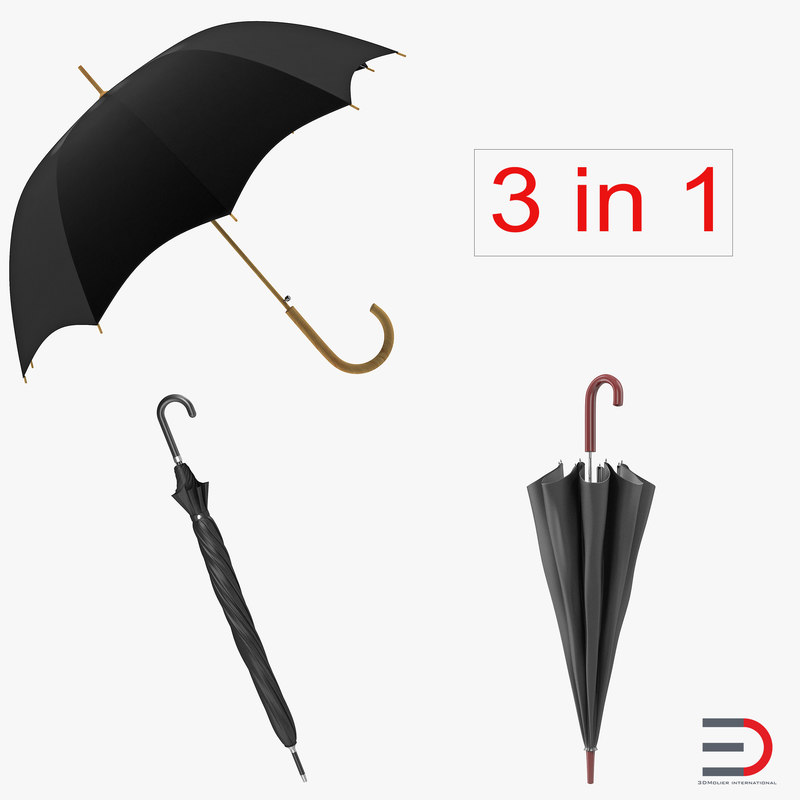 3d umbrellas set open model