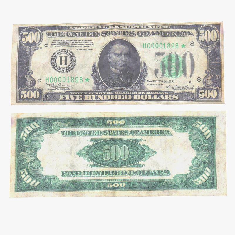 500 dollars bill 3d max