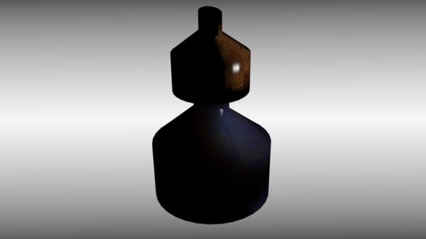 3d model vintage ink bottle