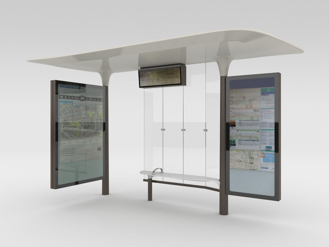 3d new paris bus stops