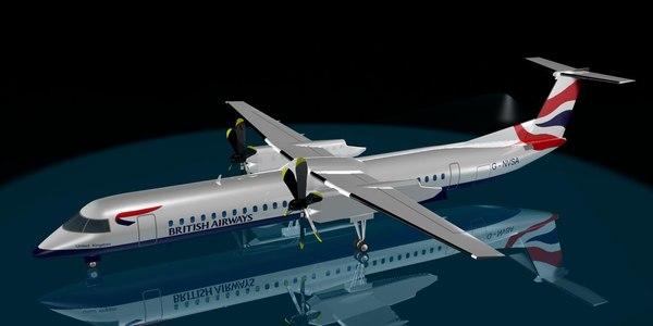 3d model british airways dash 8-400