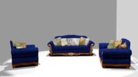 3d luxury sofa chair set