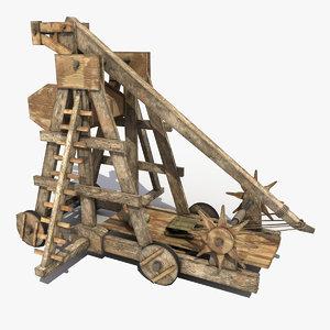 3dsmax old wooden trebuchet