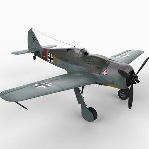 focke-wulf fw 190 fighter aircraft 3d model