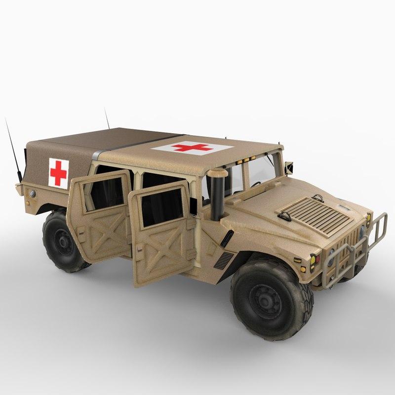 hmmwv hummer medic 3d model