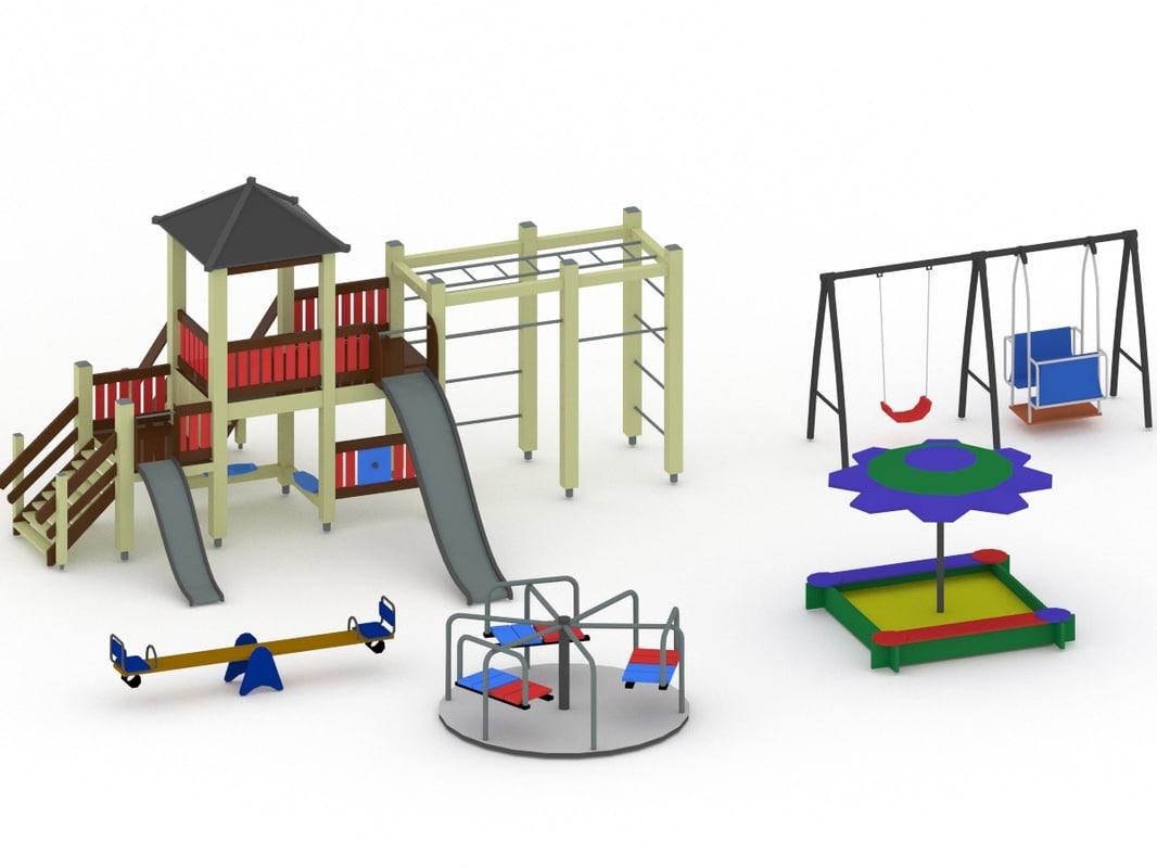 3d model playground swing carousel
