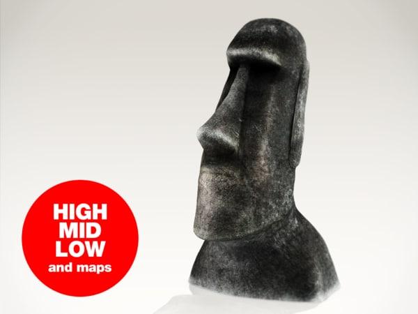 moai statue 3d max
