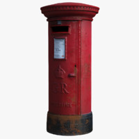 3d model asset british post box