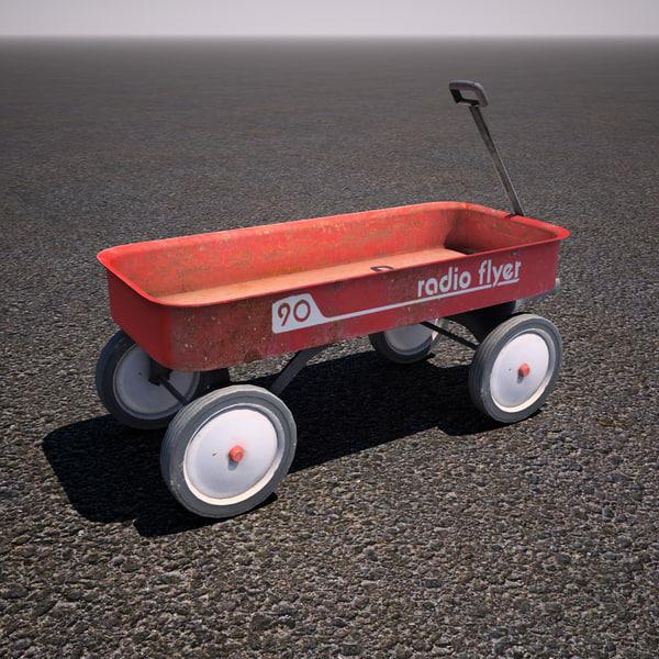 3d model of childrens radio flyer wagon