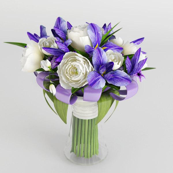 3d bouquet roses vase model