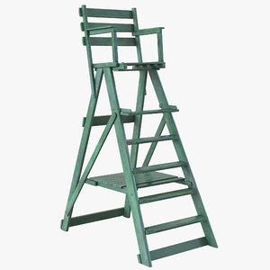 classic umpire chair green 3d max