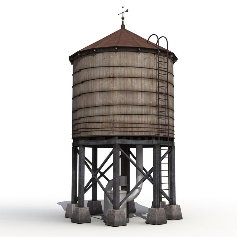 3ds max rooftop water tower