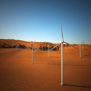 3d model of desert oasis fan