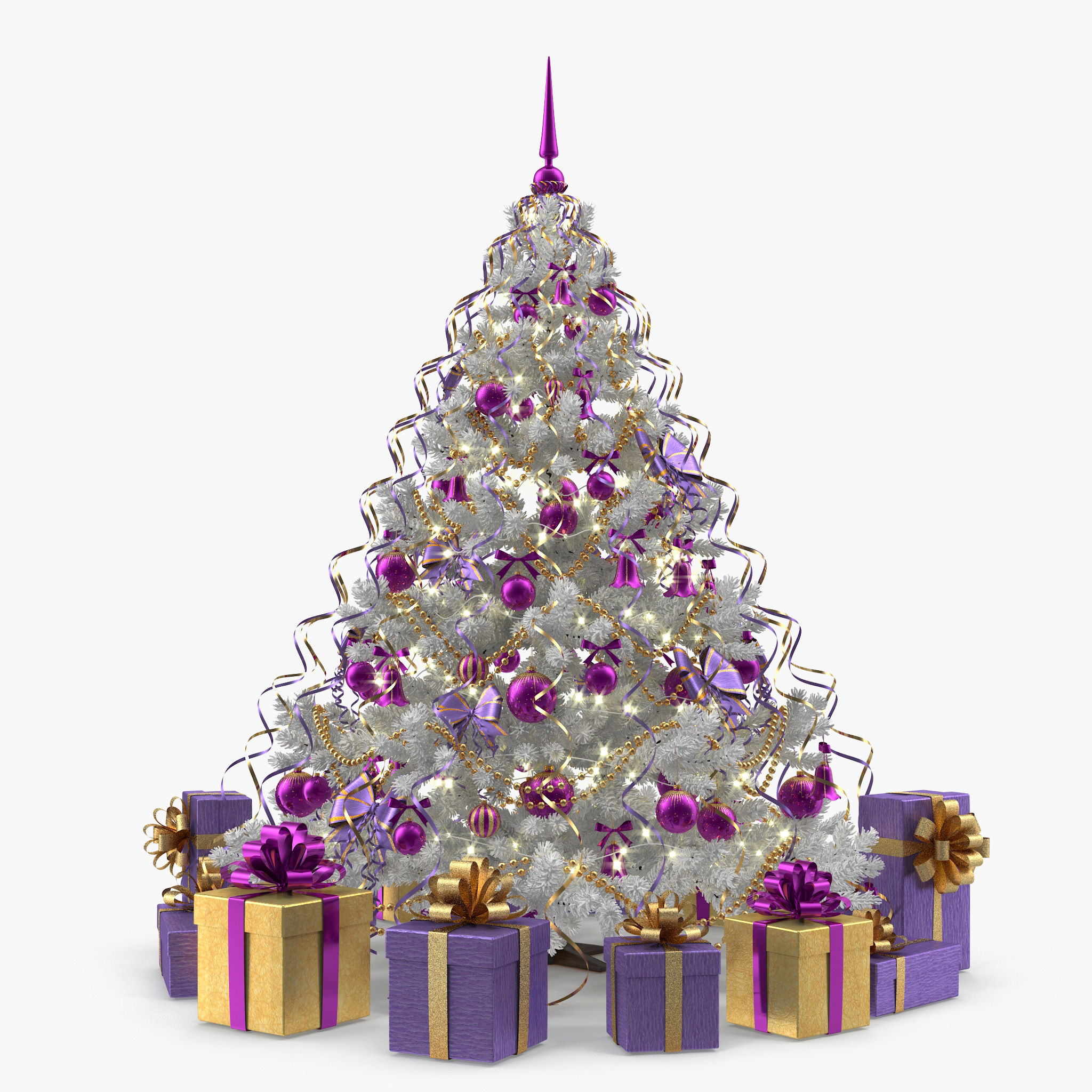 White Christmas Tree With Lights.White Christmas Tree With Purple Ornaments