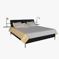 Bed black leather