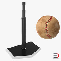 baseball batting tee ball obj