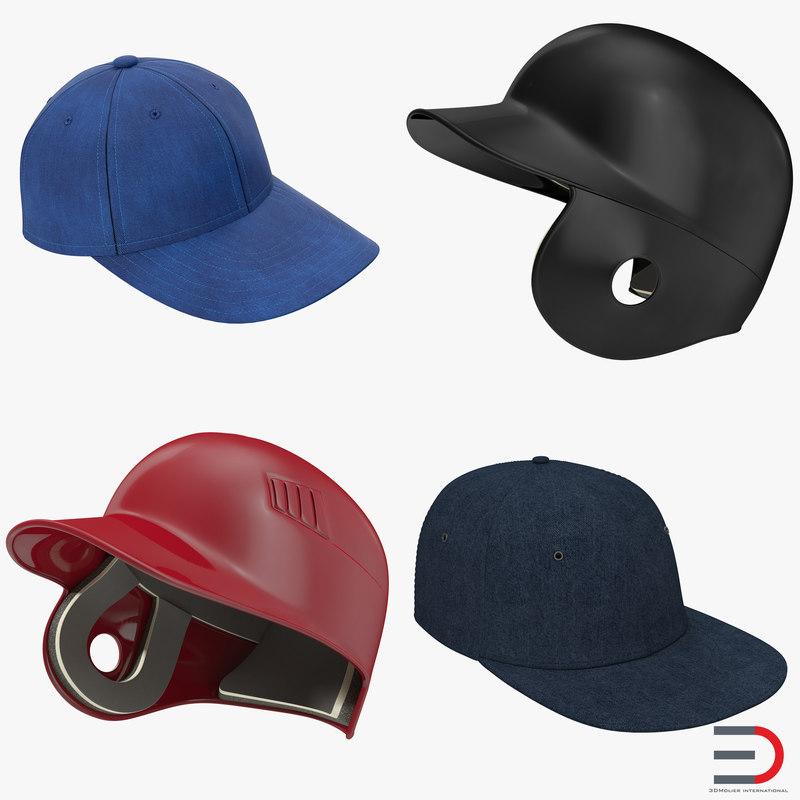 baseball hats 2 3d max