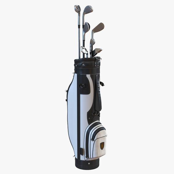 golf bag clubs 3 3d c4d
