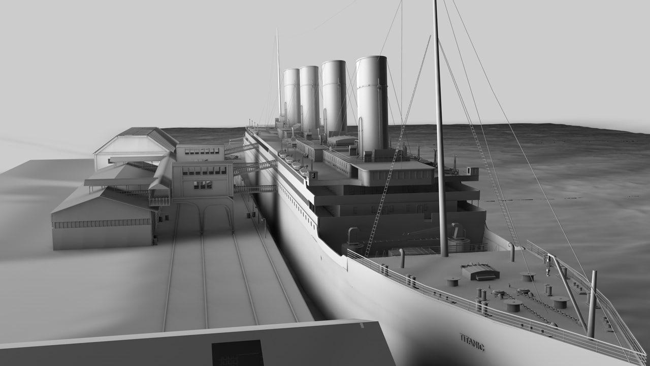 titanic port scene c4d