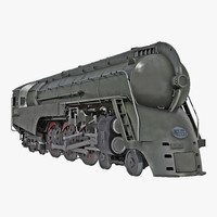 NYC Dreyfuss Hudson Steam Locomotive Rigged 3D Model