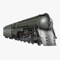 NYC Dreyfuss Hudson Steam Train Rigged 3D Model