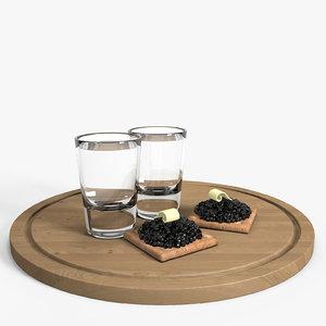 shot vodka caviar 3ds