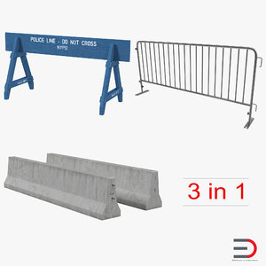 3d road barriers model