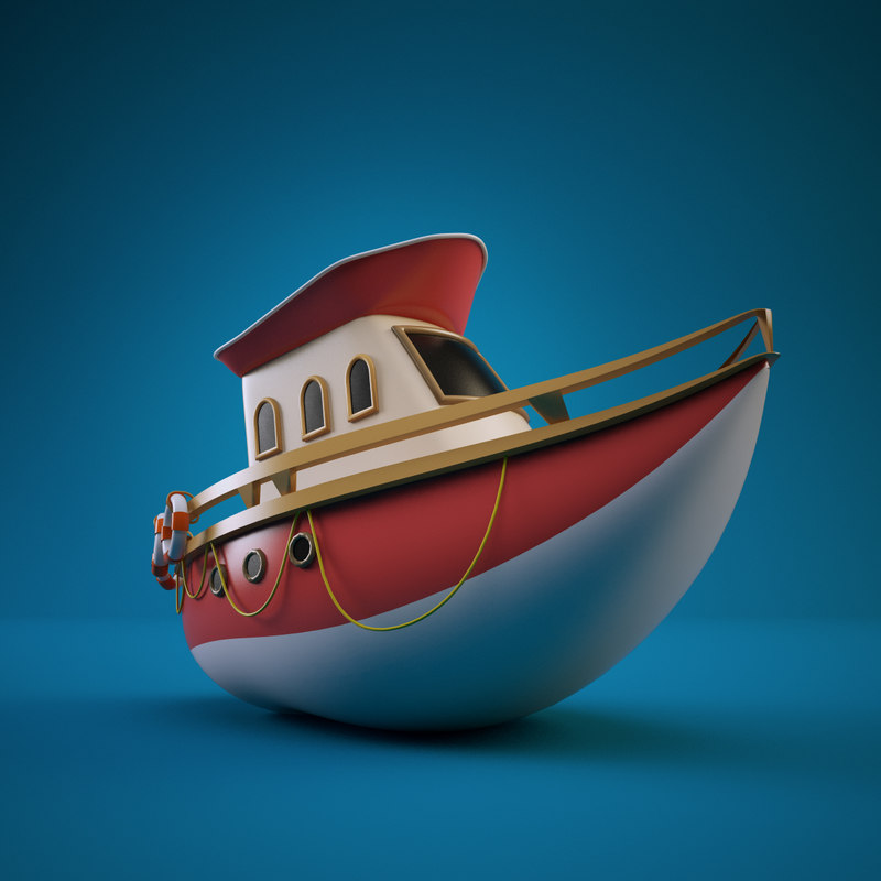 3d yacht cartoon
