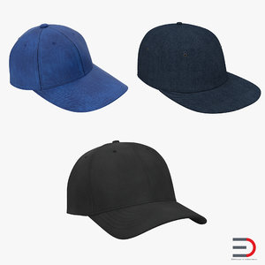 baseball hats 3d max