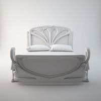 art nouveau bed 3d max