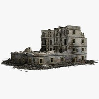 destroyed ruined building war 2 3d max