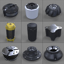 3d model canisters bolts knobs -
