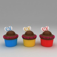 chocolate cupcakes 3d model