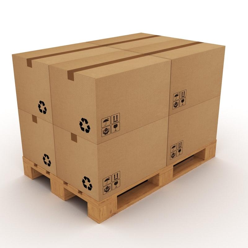 pallet boxes 3d obj