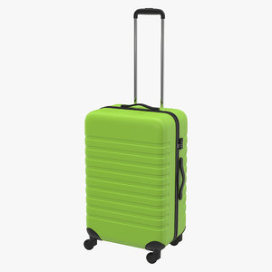 3d plastic trolley luggage bag model