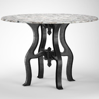 max industrial white marble dining table