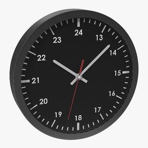 office clock black 3d model