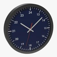 office clock blue 3d c4d
