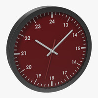 3d 3ds office clock red