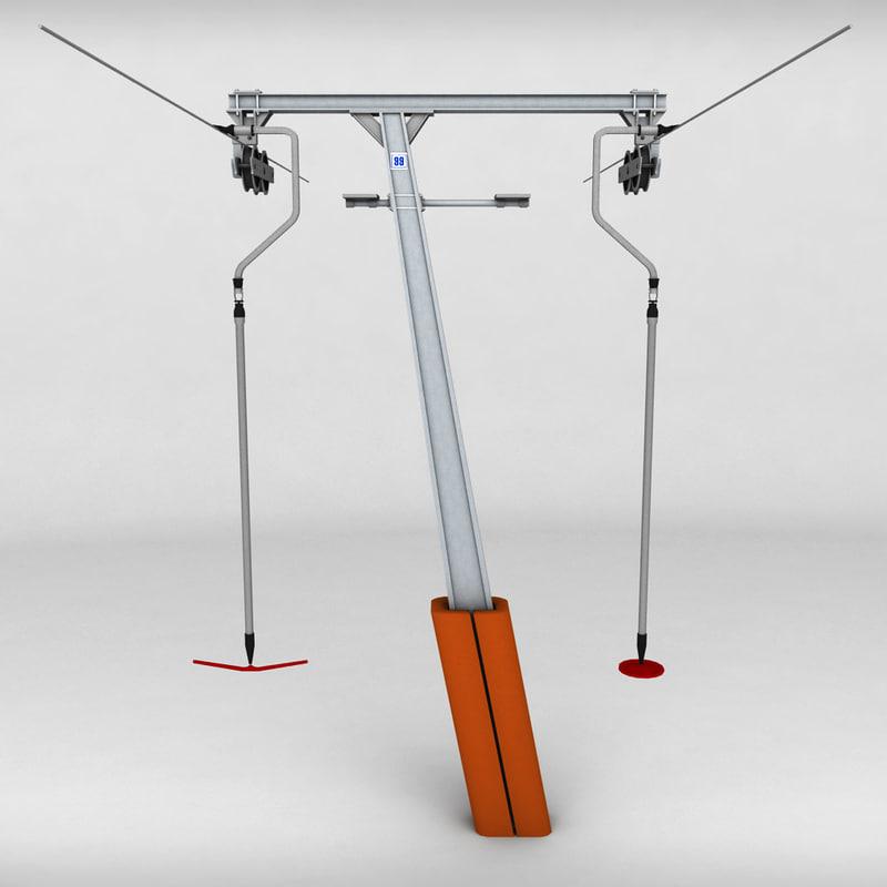 ski lift pole rod 3d model